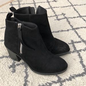 "H&M Black Suede Booties Size 38 7.5 With 3"" Heel"